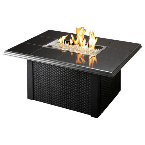 Outdoor Great Room Napa Valley Firepit Table Black with Wicker Base by Outdoor Great Room