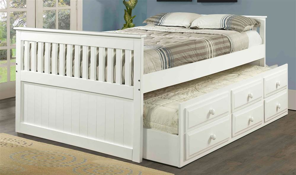 Full Trundle Bed in White Finish by Pivot Direct Inc