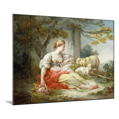 Seated Sheep (A Shepherdess Seated with Sheep and a Basket of Flowers Near a Ruin in a Wooded Landscape Wood Mounted Print Wall Art By Jean-Honoré Fragonard)