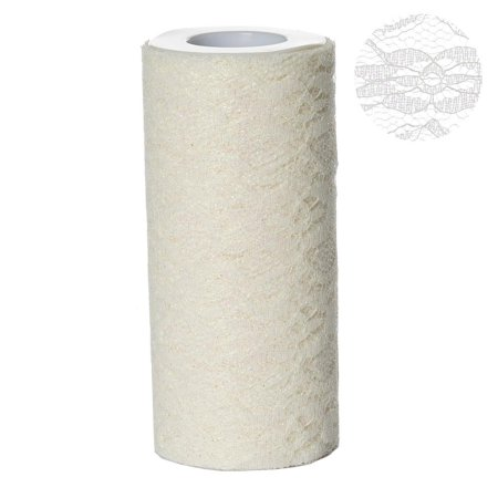 Floral Shimmer Lace Glitter Tulle Fabric Roll For Wedding Party Decorations - Ivory- 6