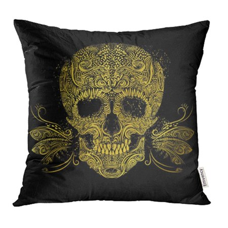 BSDHOME Abstract Golden Skull Floral Gold Pattern of Form on The Black Anatomy Body Bone Day Pillow Case Pillow Cover 18x18 inch Throw Pillow Covers - image 1 of 1