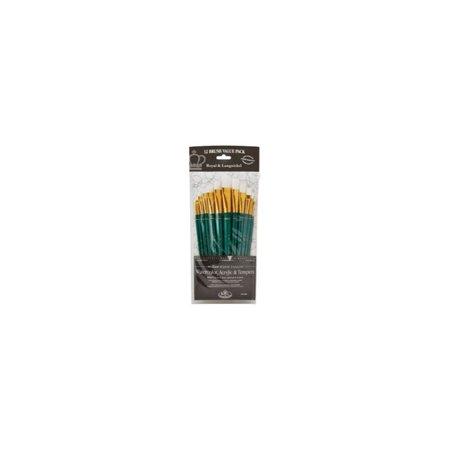 Image of 12 Pc Royal & Langnickel White Taklon Flat Brush Set