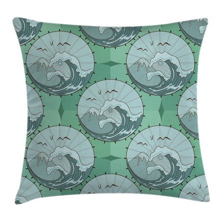Gull Circle (Apartment Decor Throw Pillow Cushion Cover, Wave Mountain and Gull Nature Scenery in Circle Chinese Umbrella Pattern, Decorative Square Accent Pillow Case, 18 X 18 Inches, Green Blue, by Ambesonne )