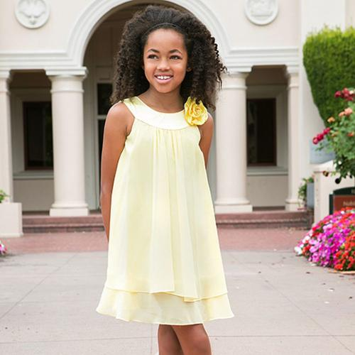 Kids Dream Girls Yellow Chiffon A Line Flower Girl Dress 12
