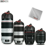 Zeikos Lens Pouch Set, 4 Pack Lens Cases, Thick Protective Neoprene Pouch Set for DSLR Camera Lens- Includes: Small, Medium, Large, Extra Large Pouches and a Miracle Microfiber Cloth