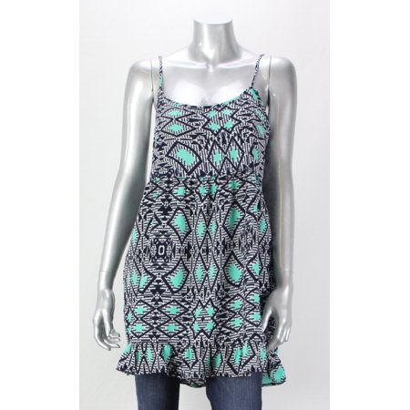 One Clothing Navy Juniors Printed Spaghetti Strap Tank Dress S