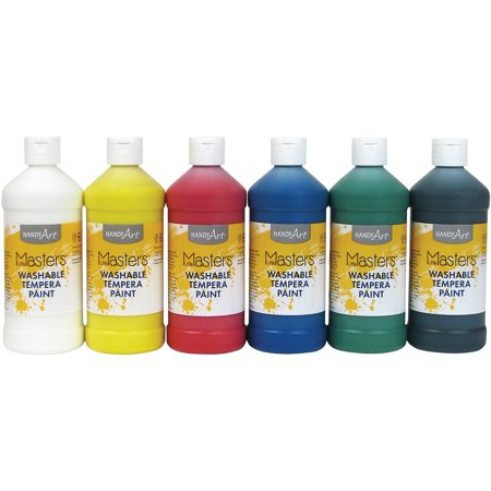 Handy Art 16 oz. Washable Tempera Paint Set, 6 Colors