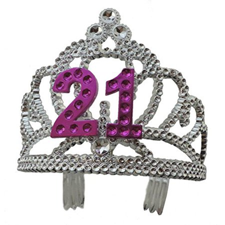 21st Birthday Pink and Silver Tiara Crown - 21st Birthday Crown