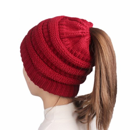 Womens Winter Hats Warm Knitted horsetail Lady Wool Hat(Red wine)
