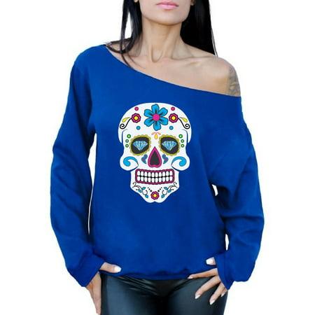 Awkward Styles Women's Colorful Skull Graphic Off Shoulder Tops Oversized Sweatshirt Candy Skull Dia De Los Muertos