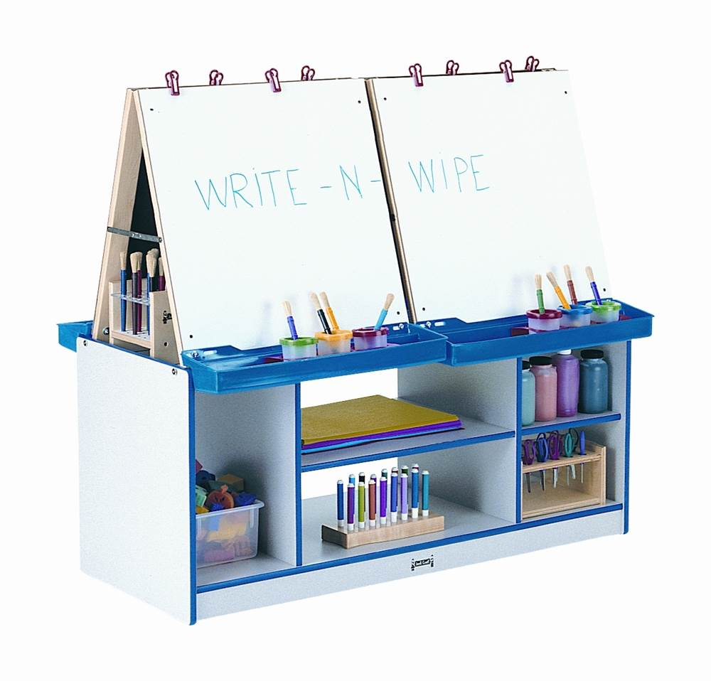 Rainbow Accents 4 Station Double Sided Easel w Edge Banding (Blue)