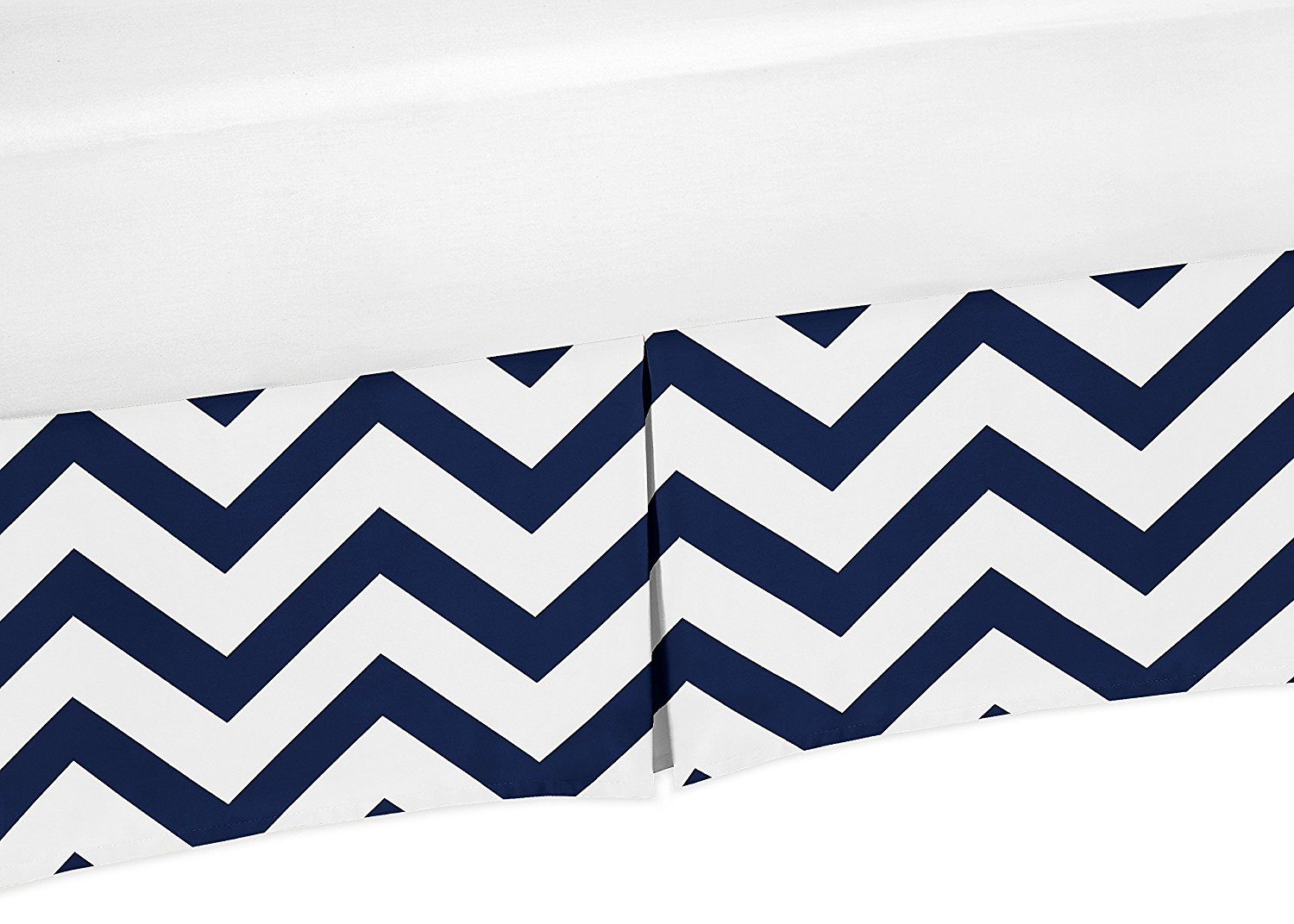 Navy Blue and White Zig Zag Crib Bedskirt Dust Ruffle for Boys Chevron Collection Baby Bedding Sets by Sweet Jojo Designs
