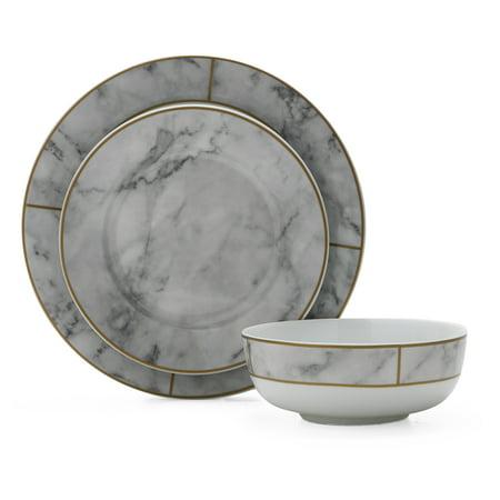 MoDRN Glam Mason 12 Piece Dinnerware Set, White (Christmas Dish Sets)