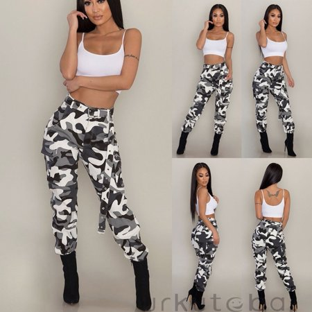 Women Camo Cargo Trousers Casual Pants Military Army Combat Camouflage Trousers