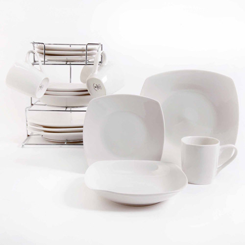 Gibson Home Bliss Cafe 16-Piece Square Dinnerware Set with Metal Rack White & Gibson Home Bliss Cafe 16-Piece Square Dinnerware Set with Metal ...