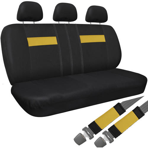 Car SUV Van Truck Seat Cover Black 8-Piece Set Bench Belt Pad/Detachable Head Rest