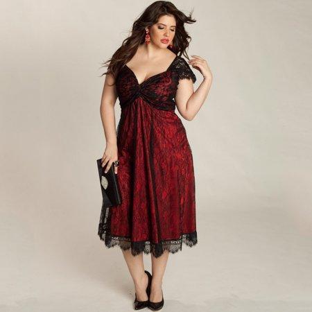 Women Plus Size Dress Floral Lace Sweetheart V Neck Cap Sleeve Midi Elegant Evening (Evening Wear Dress)
