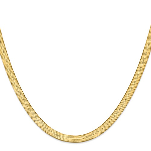 14k Yellow Gold 18in 6.5mm Silky Herringbone Necklace Chain by Jewelrypot