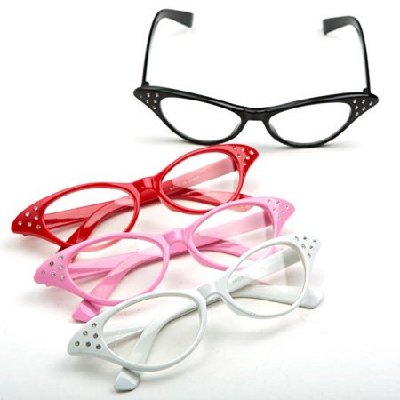 Cp Usa Cateye Glasses Cat Eye Plastic Clear Lens 1 Pair Color Will Be Random](Cat Contact Lenses Halloween)