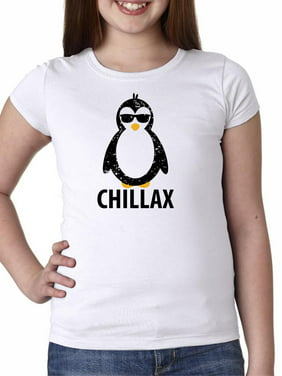 Chillax - Hilarious Penguin Wearing Sunglasses Graphic Girl's Cotton Youth T-Shirt