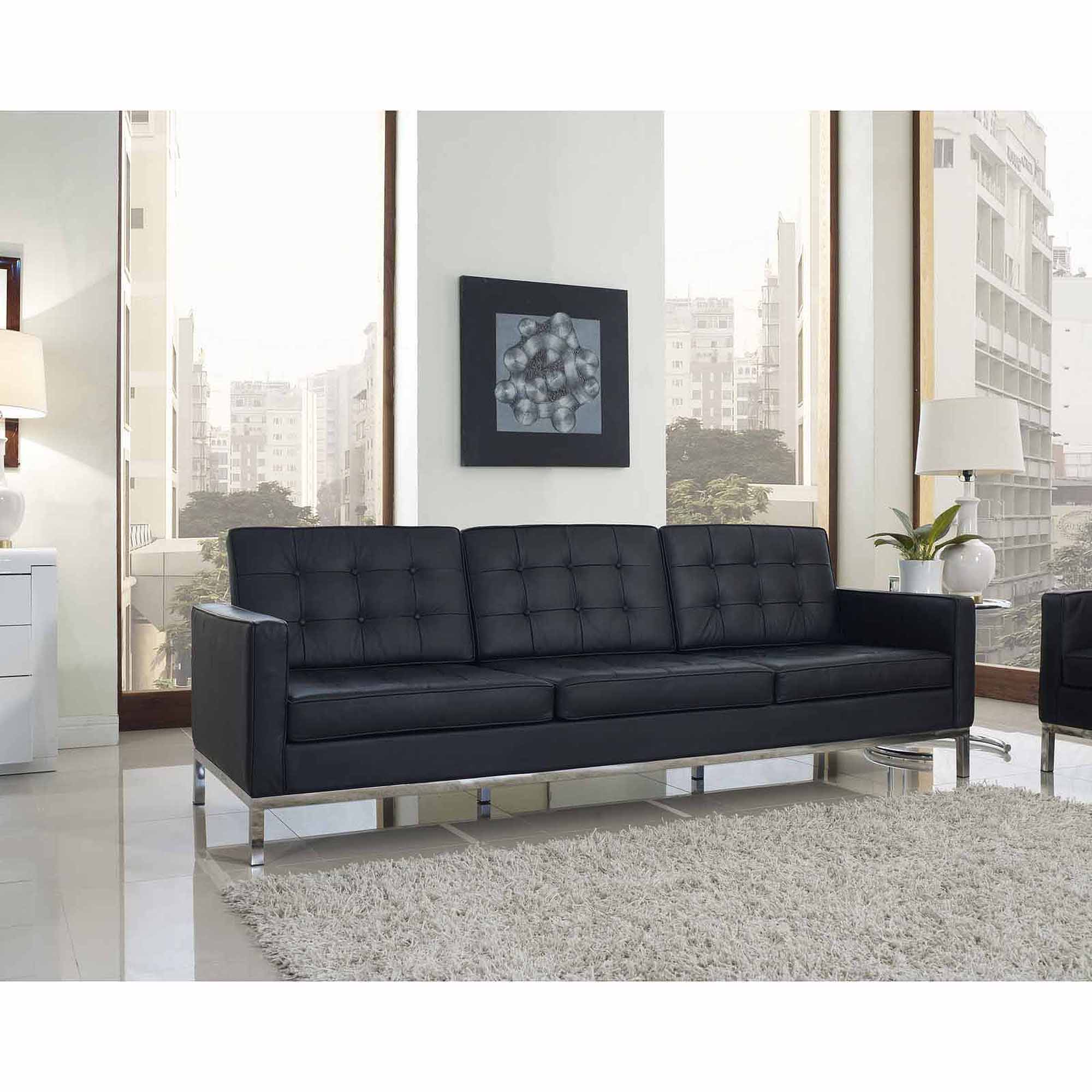 Modway Loft Leather Sofa with Steel Legs Multiple Colors