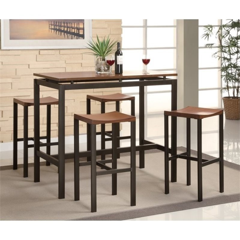 Bowery Hill 5 Piece Counter Bar Table and Stool Set in Black & Bar Table Sets