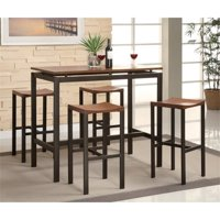 Bowery Hill 5 Piece Counter Height Dining Set in Brown and Black