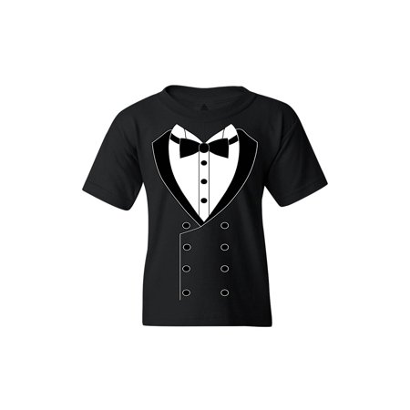 Shop4Ever Youth Black Button Tuxedo Suit Party Costume Graphic Youth T-Shirt Costume Youth T-shirt