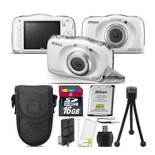 Nikon Coolpix W100 Point and Shoot Digital Camera - White - Kit A2