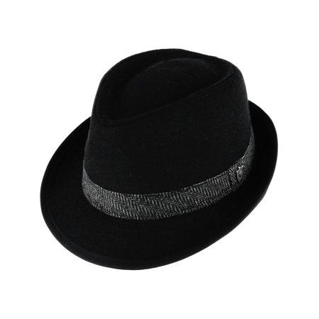 Men's Wool Blend All Season Fedora Hat with Herringbone Band