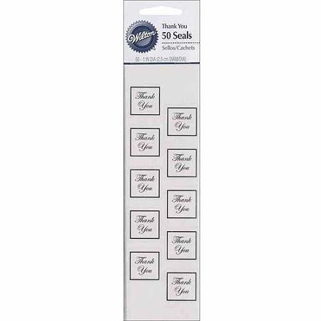 Wilton Thank You Envelope Decorating Seals, Silver, 50 Ct