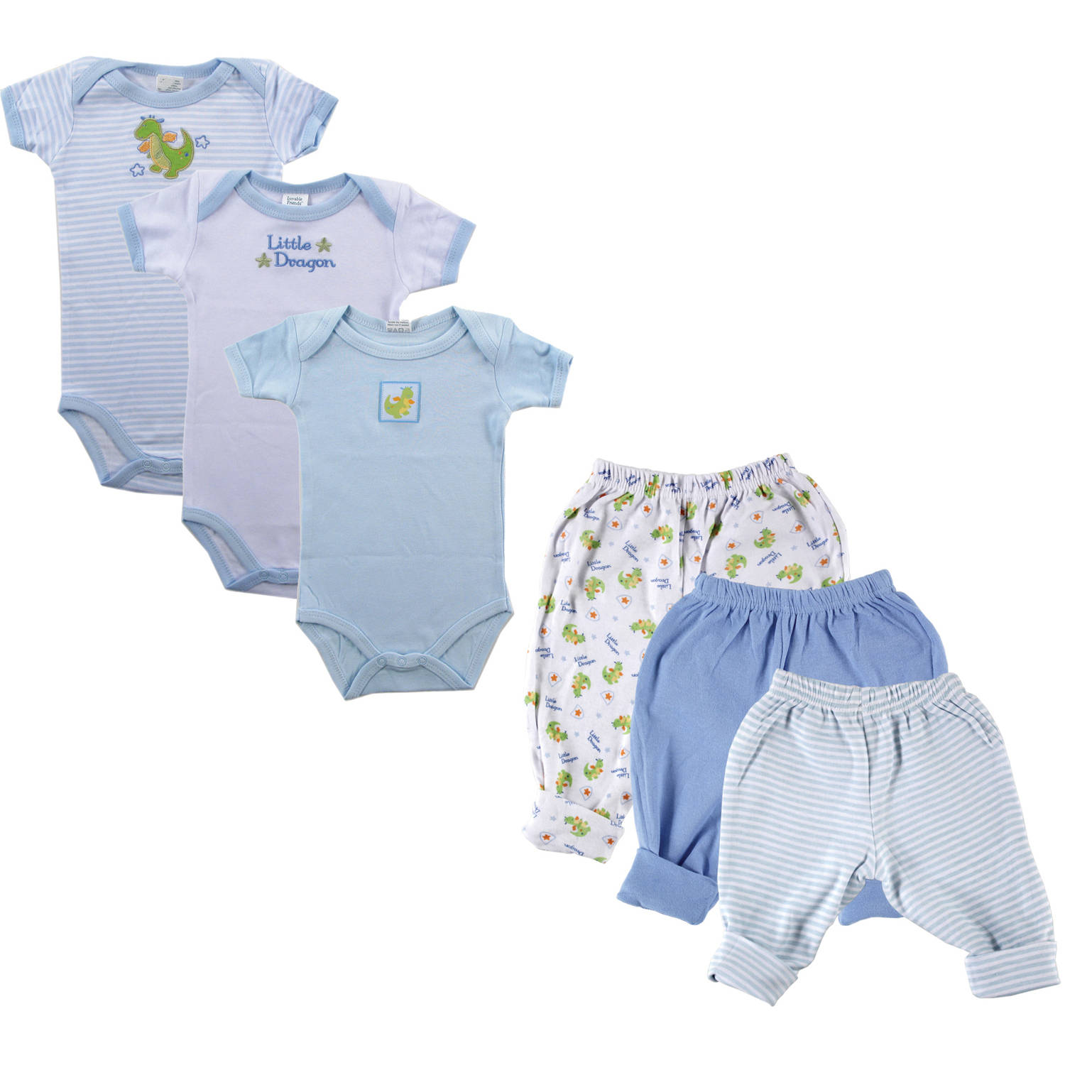 Luvable Friends Newborn Baby Boy Grow with Me Layette 6-Piece Set, Blue