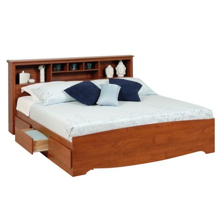 Prepac Monterey King Bookcase Platform Storage Bed in Cherry California King Cherry Footboard