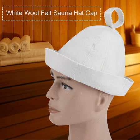 Zerone White Wool Felt Sauna Hat Cap for Russian Banya Sauna Hut With Hang Loop Supply , Sauna Cap, Wool Felt Sauna Cap (Sakura Hat)