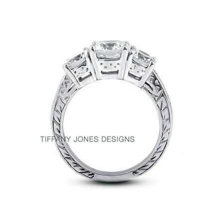Tiffany Engraved Round Tag - 0.96ct tw F-I1 Ex Round AGI Natural Diamonds 950 PL. Basket Engraved Ring 7.6gr