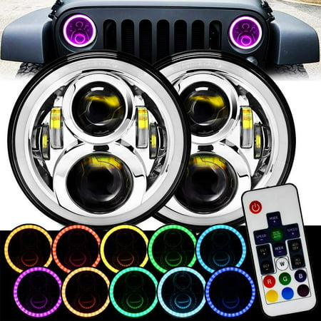 7 Inch Chrome Remote RGB SMD LED Halo Headlights for Jeep Wrangler JK TJ LJ Hi/Lo Beam with DRL Halo Ring Angel Eyes 2PCS H6014 H6015 H6017 H6024 FITS TRUCKS CARS Angel Eyes Car