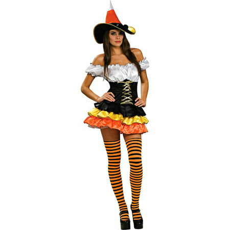 Candy Corn Cutie Adult Halloween Costume - Rock Candy Halloween Flash