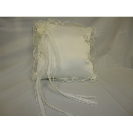 Wedding Ceremony Ivory Wedding Ring Bearer Pillow with Embroidery Flower](Ring Barrer)