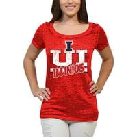 Illinois Fighting Illini Block Graffiti Women'S/Juniors Team Short Sleeve Scoop Neck Tee Shirt
