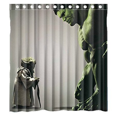 DEYOU Hulk And Star Wars Yoda Shower Curtain Polyester Fabric Bathroom Size 66x72 Inches