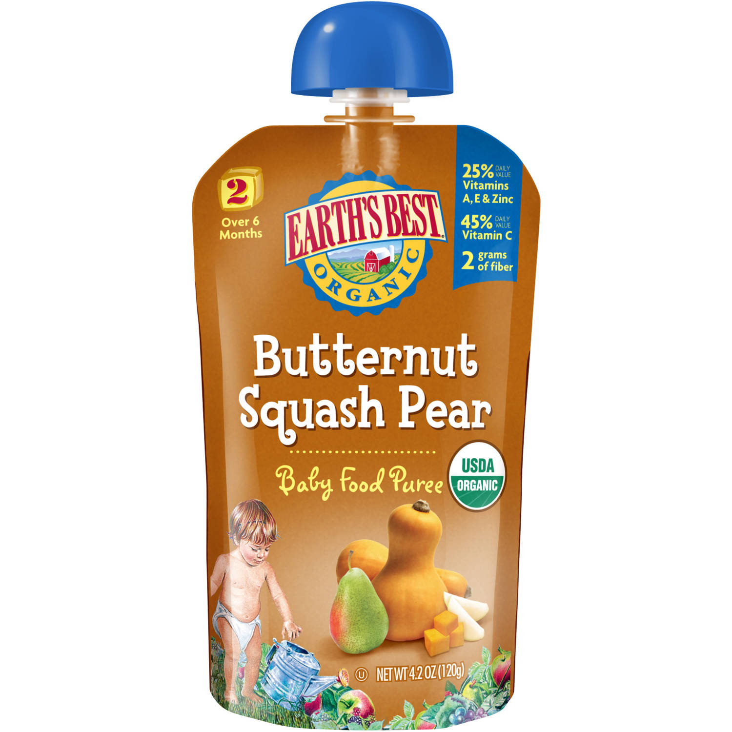 Earth's Best Second Foods Butternut Squash Pear Baby Food Puree, 4 oz