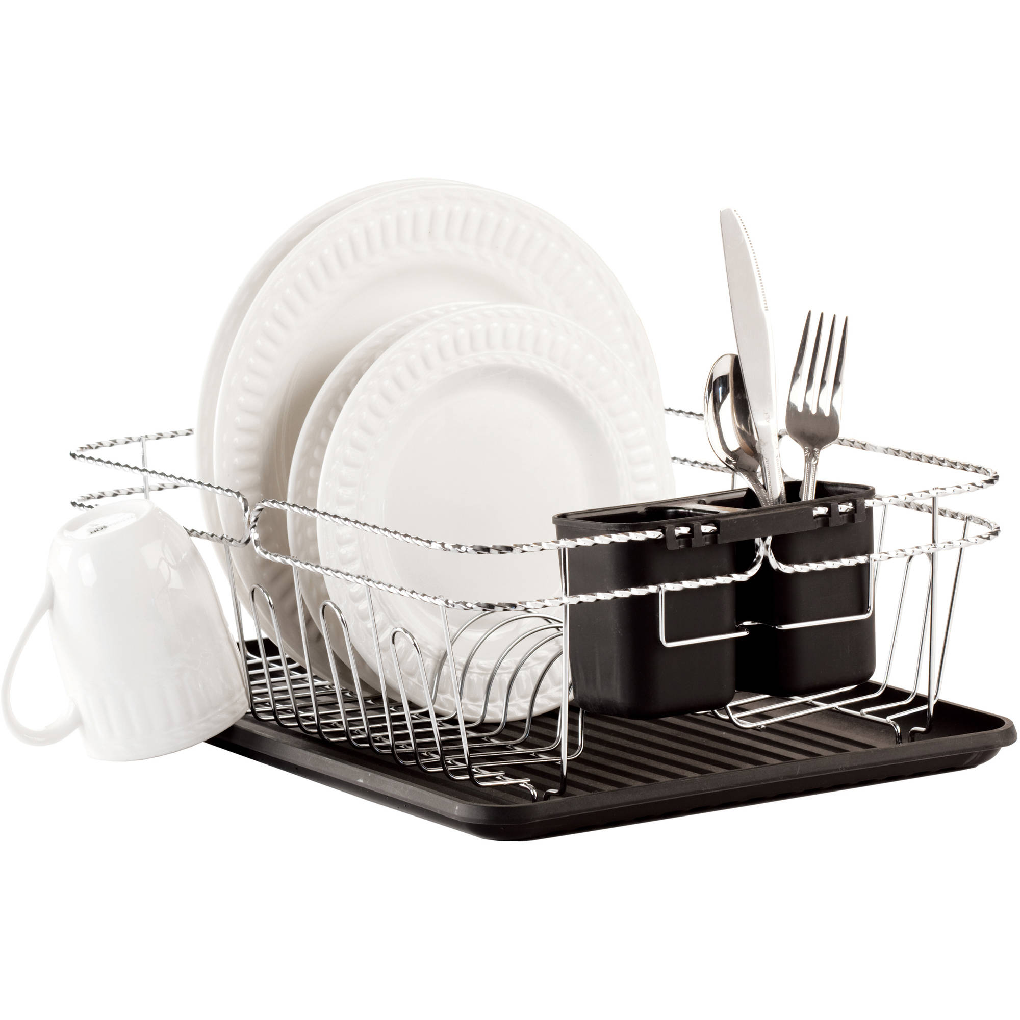 "Kitchen Details 3-Piece Twisted Dish Rack, Chrome, 16.5"" x 12.5"" x 5.5"""