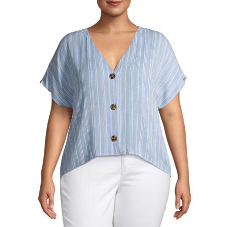 Grayson Social Juniors' Plus Size Linen Blend Split Neck Blouse Plus Size Linen Blend Shirt