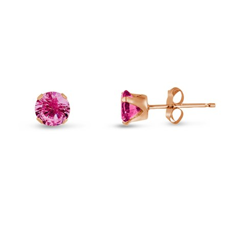 Rose Gold Plated Sterling Silver Stud Earrings 2mm Created Pink Sapphire Round (Round Cut Natural Sapphire)