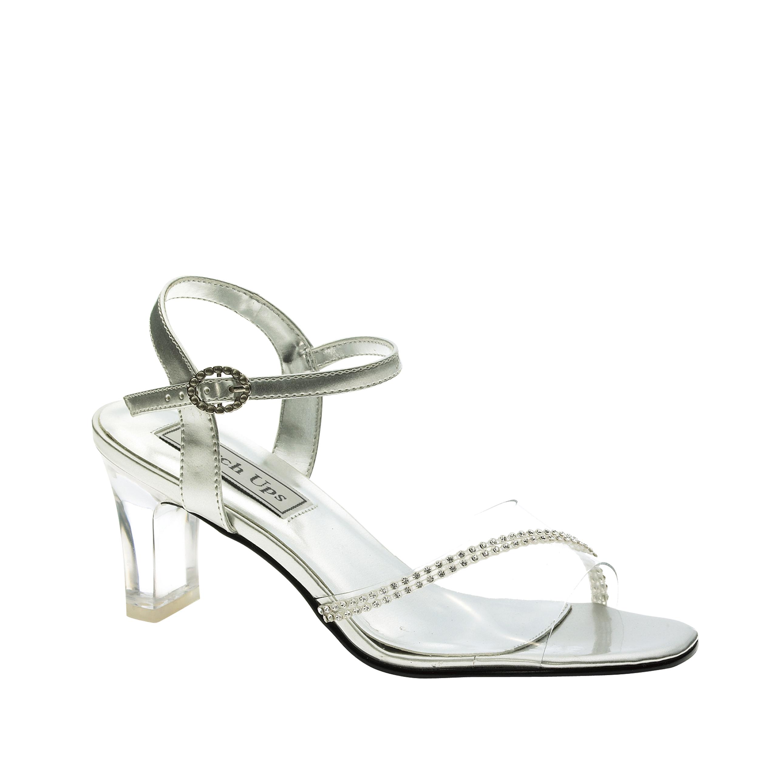 Touch Ups Carmella Womens Clear/Silver Sandals 8 W