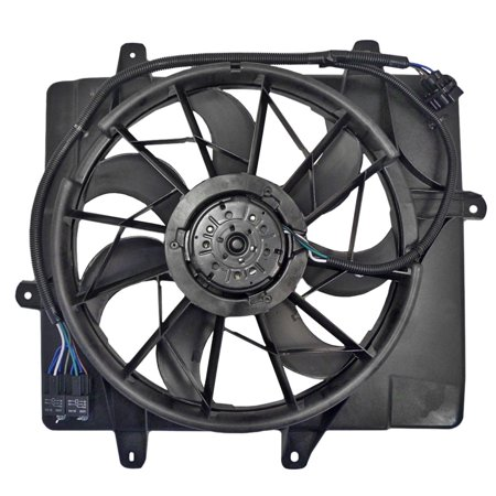 BROCK Radiator Cooling Fan Motor with 4 Pin Connector Assembly Replacement for 06-10 Chrysler PT Cruiser 5179470AA