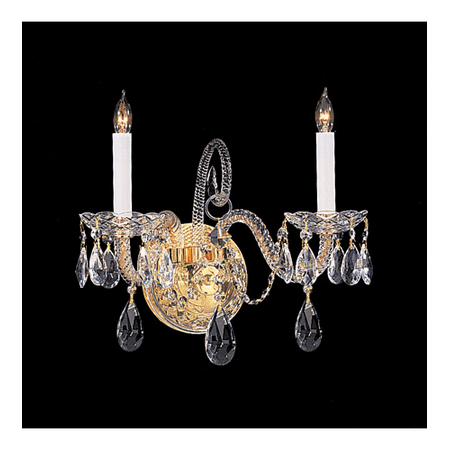 - Wall Sconces 2 Light With Polished Brass Clear Hand Cut Crystal Glass Candelabra 14 inch 120 Watts - World of Lighting