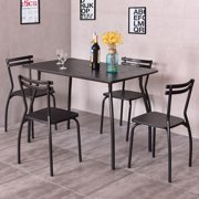Costway 5 Piece Dining Set Table And 4 Chairs Home Kitchen Room Breakfast  Furniture