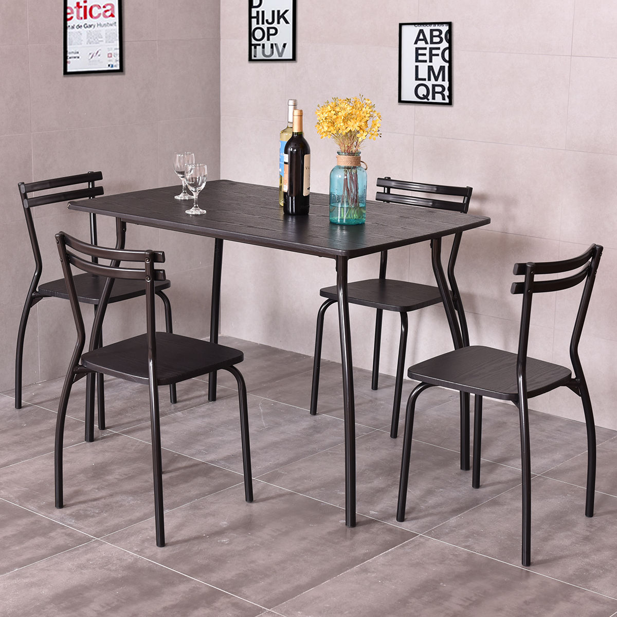 Costway 5 Piece Dining Set Table And 4 Chairs Home Kitchen Room Breakfast Furniture & Breakfast Nook Tables