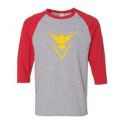 d7d0b030 Pokemon Go Gym Team Instinct Yellow Mens Womens 3/4 Raglan Sleeve T-Shirt